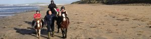 Children on ponies being led on beach