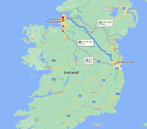 Karte für Anreise  Irland